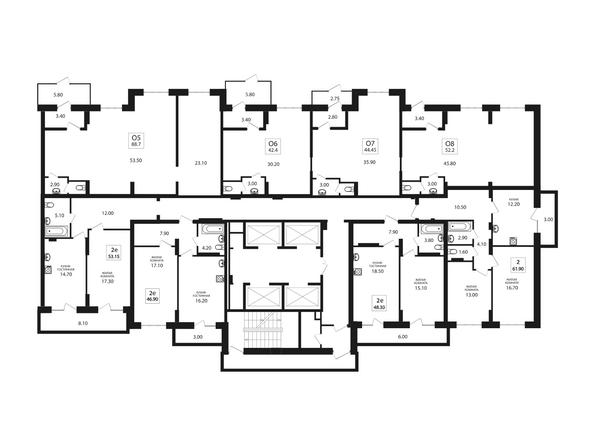 Планировки Жилой комплекс VIVANOVA (Виванова) - Подъезд 2. Планировка 2 этажа