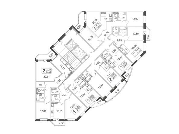 Блок-секция 4. Планировка типового этажа