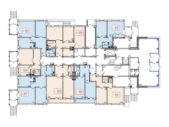 Планировки Жилой комплекс ТИХИЕ ЗОРИ, дом 6 - Планировка 1 этажа