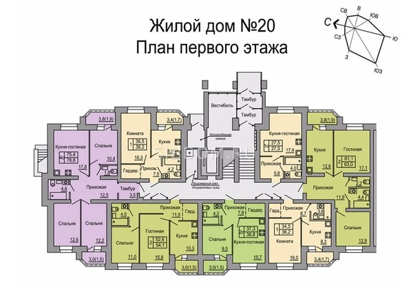 Планировки Жилой комплекс 4 мкр, дом 20 - Подъезд второй. Планировка 1 этажа