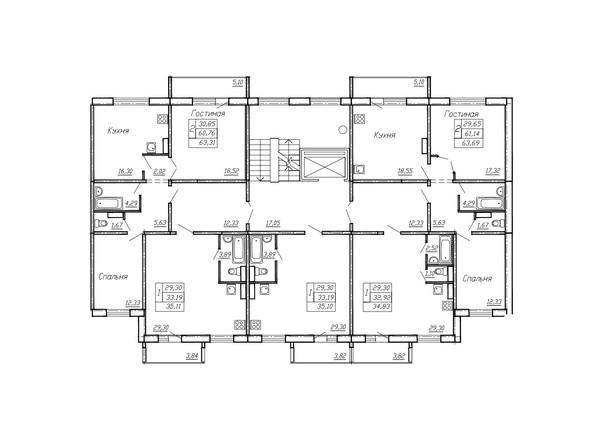Планировки Жилой комплекс РЕГАТА, дом 11 - Блок-секция 4. Планировка типового этажа