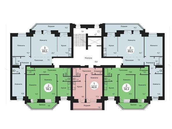 Планировки Жилой комплекс СЭЛФОРТ, 2 оч - Блок-секция 5. Планировка типового этажа
