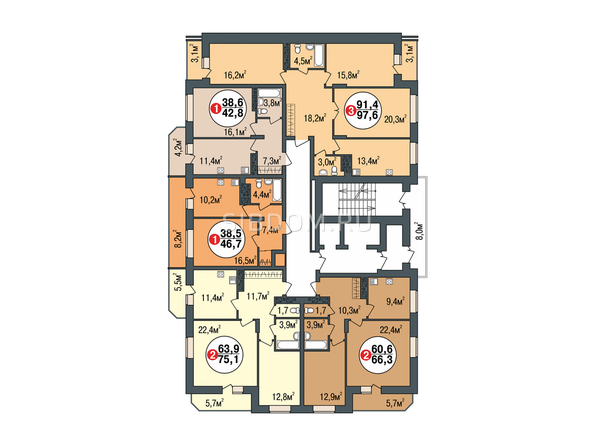 Планировки Жилой комплекс ПОКРОВСКИЙ, б/с 3, 4, 5 - Блок-секция 5. Планировка типового этажа