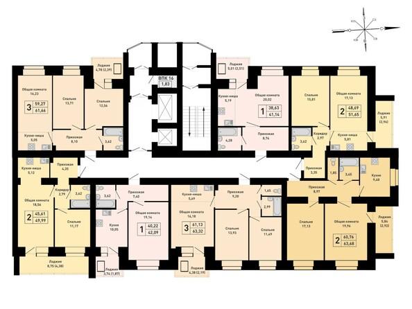 Блок-секция 1. Планировка 16 этажа