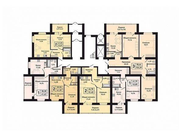 Планировки Жилой комплекс КРАСНООБСКИЙ, дом 230 - Подъезд 1. Планировка 1 этажа