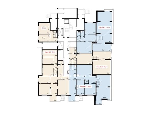 Планировки Жилой комплекс НОВОНИКОЛАЕВСКИЙ ж/к, 2 дом, 3 стр - Планировка 1 этажа