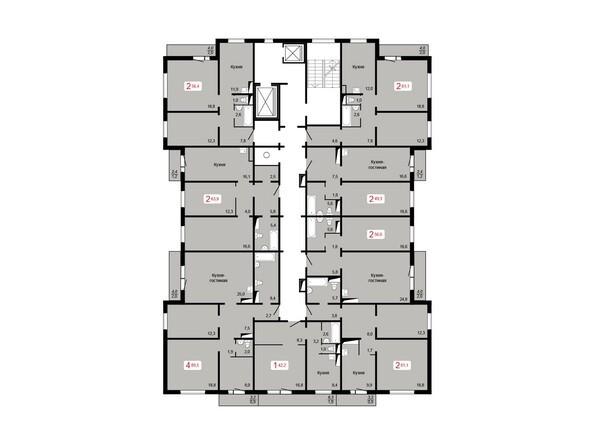 Планировки Жилой комплекс ЛЕСНОЙ МАССИВ, дом 1, стр 8 - Планировка 2-5 этажей