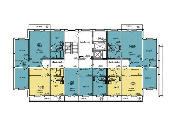 Планировки Жилой комплекс Иннокентьевский, 3 мкр, дом 6 - Подъезд 3. Планировка 3-5 этажей