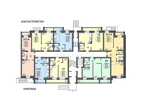 Планировки Жилой комплекс СВОБОДА, дом 7 - Подъезд 2. Планировка 1 этажа