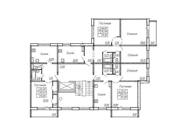 Планировки Жилой комплекс РЕГАТА, дом 11 - Блок-секция 2. Планировка типового этажа