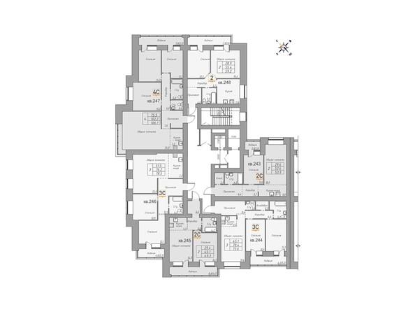 Планировки Жилой комплекс ДВЕ ЭПОХИ, корпус 1 - Планировка 2 этажа, 3 б/с