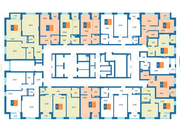 Планировка квартир на 3-7 этаже ЖК Гранит