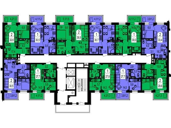 Планировки Жилой комплекс ТИХИЕ ЗОРИ, дом 1 (Красстрой) - Блок-секция 5. Этажи 2-13