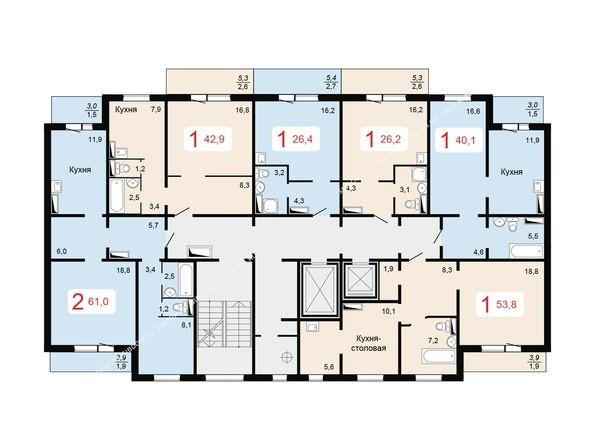 Планировки МИЧУРИНО, дом 1 - 2,3 подъезд типовая планировка