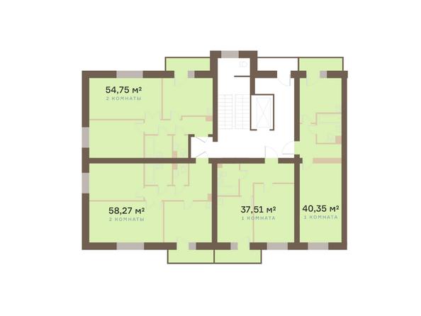 Планировки Жилой комплекс Академгородок, дом 1, корп 1 - Корпус 1. Подъезд 6. Планировка типового этажа
