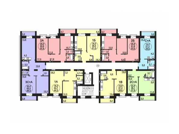 Планировки Жилой комплекс СВОБОДА, дом 6 - Подъезд 1. Планировка 3 этажа