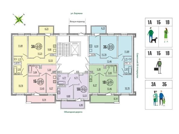 Блок-секция 4-18. Планировка типового этажа