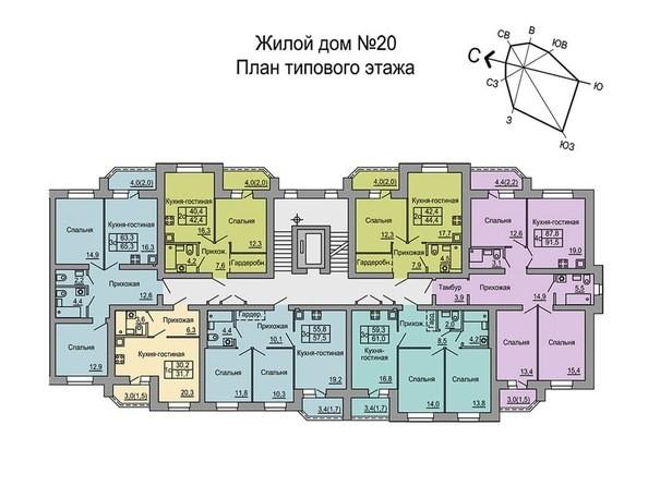 Планировки Жилой комплекс 4 мкр, дом 20 - Подъезд первый. Планировка типового этажа