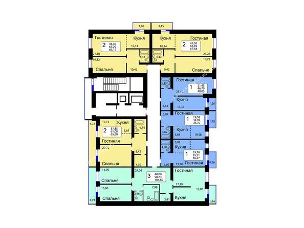 Планировки Жилой комплекс РЯБИНОВЫЙ САД, 3 оч, 1 этап - Блок-секция 13. Планировка 1-9 этажей