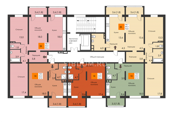 Планировки Жилой комплекс РЕВОЛЮЦИЯ - Подъезд 1. Планировка типового этажа