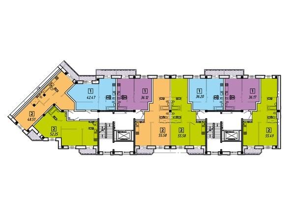 Планировки Жилой комплекс ПРИБРЕЖНЫЙ, дом 6 - Подъезды 1-2. Планировка типового этажа