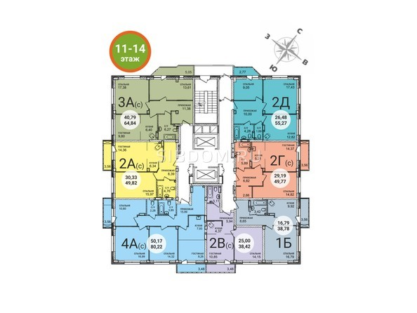 Планировки Жилой комплекс RED FOX (Рэд Фокс), дом 4 - Планировка 11-14 этажей