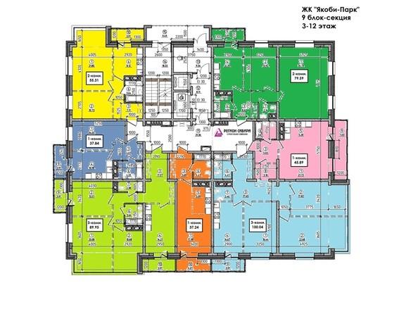 Планировки ЯКОБИ-ПАРК, 3 оч, 9 б/с - Планировка 3-12 этажей
