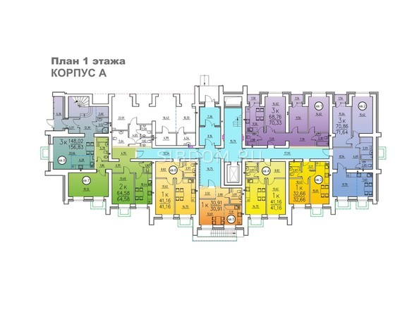 Корпус А. Планировка 1 этажа