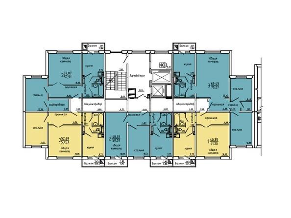 Планировки Жилой комплекс Нанжуль-Солнечный мкр, дом 5 - Подъезд 9. Планировка 15-16 этажей