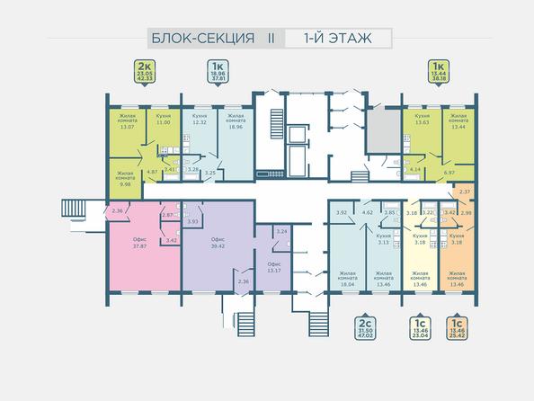 Планировки Жилой комплекс РАДУГА СИБИРИ, дом 1 - Подъезд 2. Планировка 1 этажа