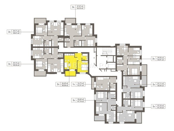 Планировки Жилой комплекс ГРИБОЕДОВ - Планировка 6-12 этажей
