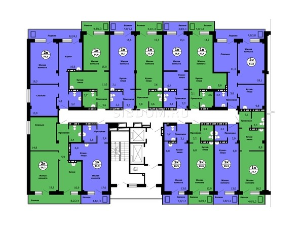 Планировка типового этажа, секция 1