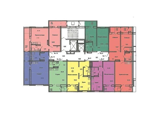 План 2-17 этажей, 1 б/с