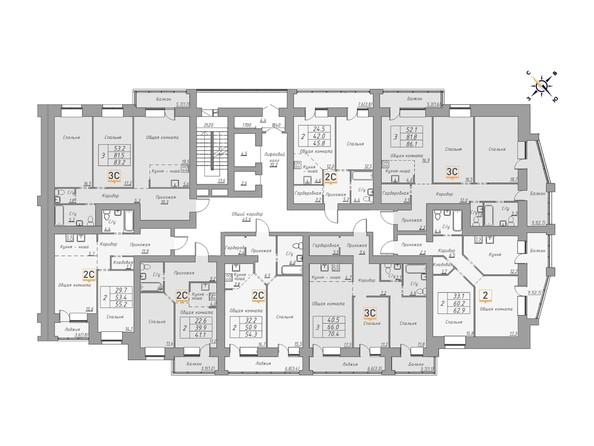 Планировки Жилой комплекс ДВЕ ЭПОХИ, корпус 1 - Планировка 12-14 этажей, 1 б/с