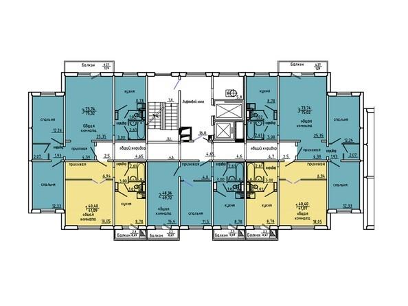 Планировки Иннокентьевский, 3 мкр, дом 6 - Подъезд 3. Планировка 6-14 этажей