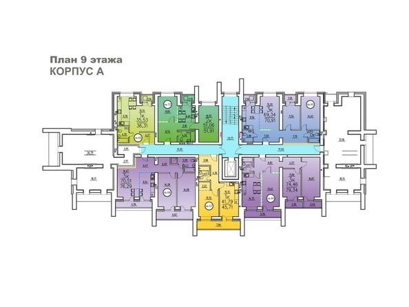 Корпус А. Планировка 9 этажа