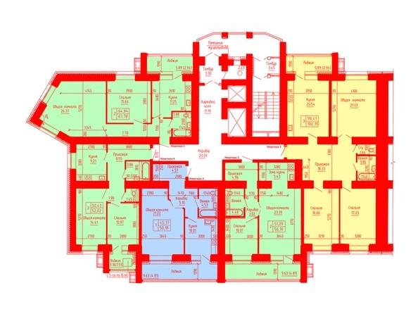 Планировки Жилой комплекс ЛАЗУРНЫЙ-2, дом 3 - Планировка 8-16 этажей, 5 б/с