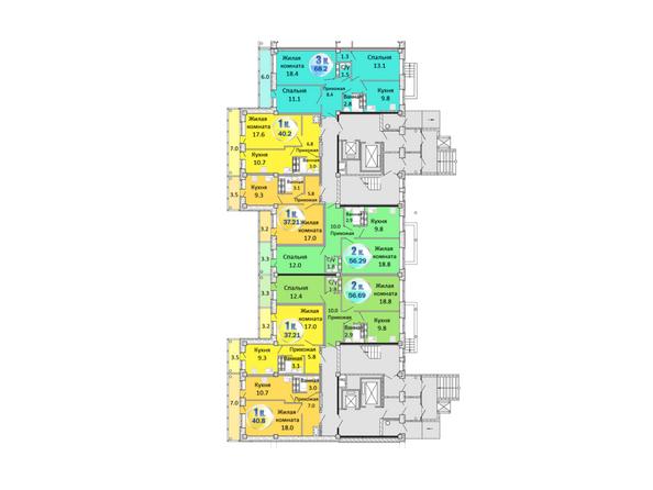 Планировки Жилой комплекс АТЛАНТЫ - Блок-секция 2. Планировка 1 этажа