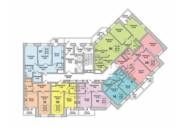 Планировки Жилой комплекс ПРИОЗЕРНЫЙ, дом 2 - Блок-секция 2. Планировка типового этажа