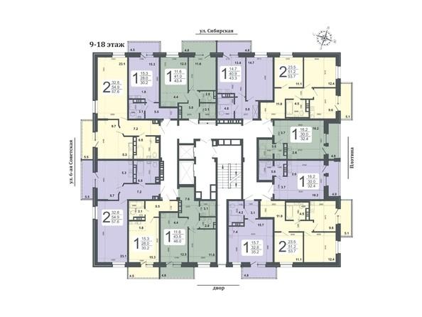 Планировки Жилой комплекс РОДНОЙ БЕРЕГ, 8 б/с - Планировка 9-18 этажей