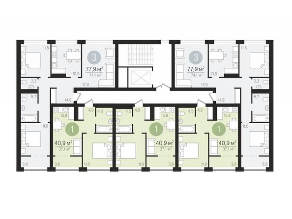 Планировки Жилой комплекс ЕВРОПЕЙСКИЙ БЕРЕГ, дом 22 - Подъезд 2. Планировка 3-10 этажей
