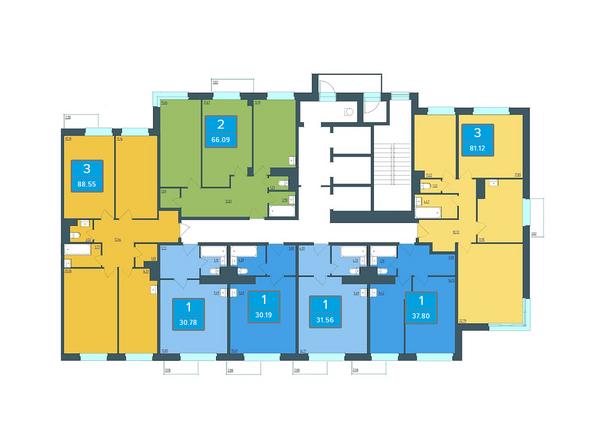Планировки Жилой комплекс ПРЕОБРАЖЕНСКИЙ, дом 13 - Подъезд 1. Планировка 3 этажа