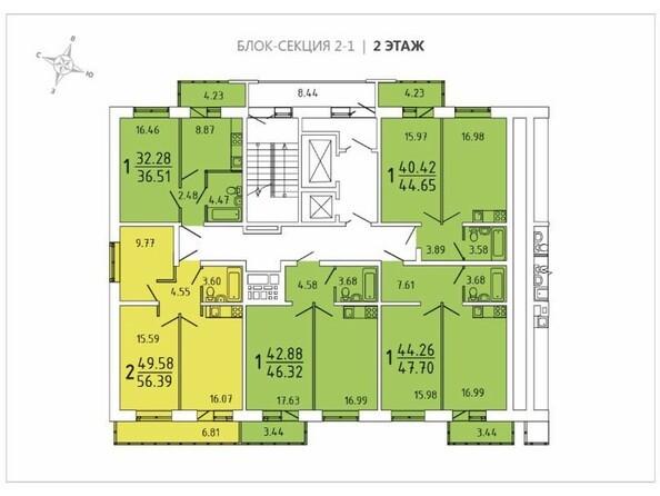 Планировки Жилой комплекс ИЗУМРУД, 2 оч, б/с 1, 2, 3, 4 - Блок-секция 2-1. Планировка 2 этажа