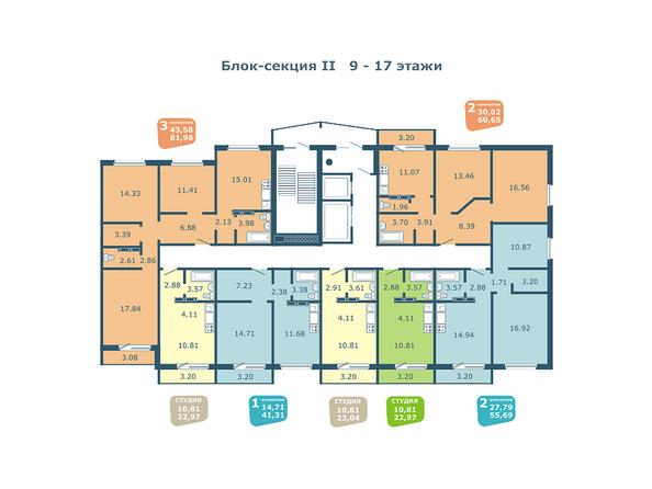 Планировки Жилой комплекс НА ФАДЕЕВА, дом 5 - Подъезд 2. Планировки 9-17 этажей