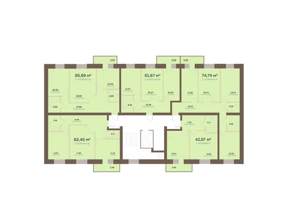 Планировки Жилой комплекс Академгородок, дом 1, корп 3 - Корпус 3. Подъезд 10. Планировка типового этажа