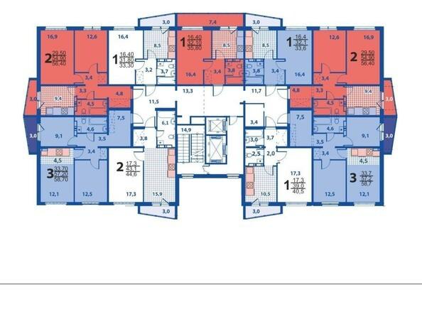 Планировки Жилой комплекс ВЕРХНИЙ БУЛЬВАР, дом 8 - Блок-секция 1.  Планировка типового этажа