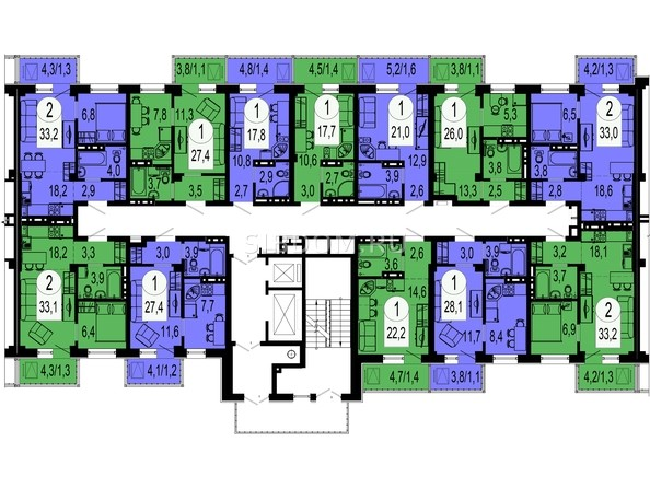Планировки Жилой комплекс ТИХИЕ ЗОРИ, дом 4 (Красстрой) - Секция 3. Типовая планировка этажа.