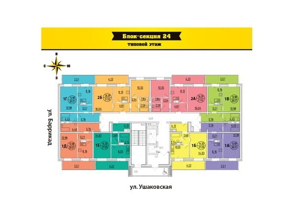 Планировки Жилой комплекс ПРЕДМЕСТЬЕ, б/с 23, 24 - Блок-секция 24. Планировка типового этажа