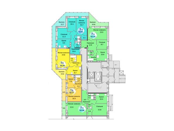Планировки Жилой комплекс АТЛАНТЫ - Блок-секция 1. Планировка 1 этажа
