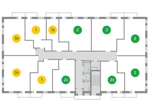 Планировки Жилой комплекс ЯСНЫЙ БЕРЕГ, дом 11 - Планировка типового этажа